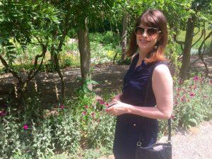 Angie Klink in the Stratton-Porter garden