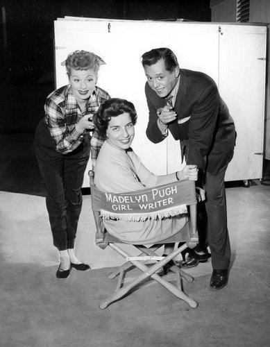 Madelyn Pugh Davis on set with Lucille Ball and Desi Arnaz