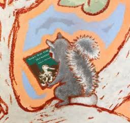 A squirrelin AWM's mural reading Make Way for Ducklings