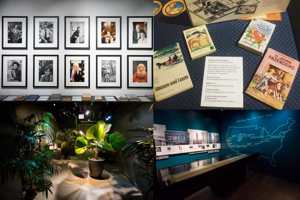 A collage showing stills from 4 temporary exhibits at the AWM