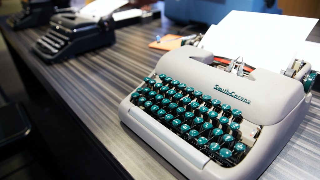 A Smith-Corona typewriter at the American Writers Museum