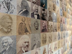 Frederick Douglass portrait collage at the American Writers Museum