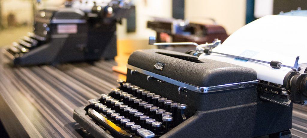 Typewriters at the American Writers Museum's Story of the Day exhibit