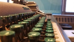 Green typewriter keys at the American Writers Museum