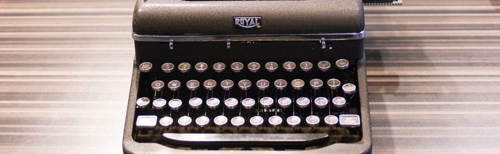A Royal typewriter on the Story of the Day table