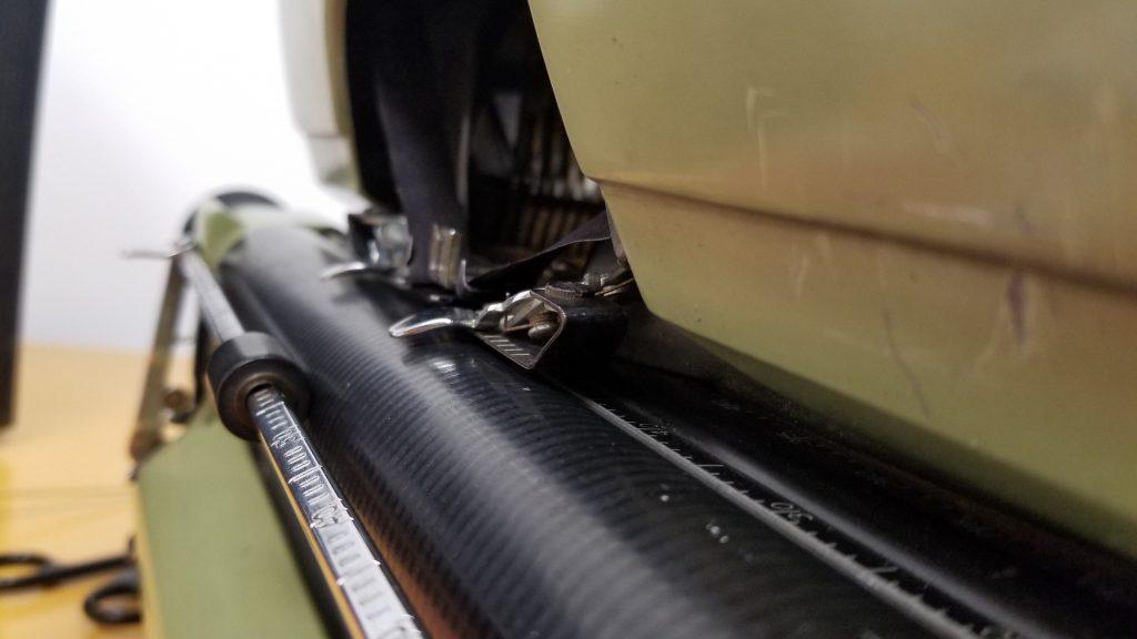 close-up of typewriter platen