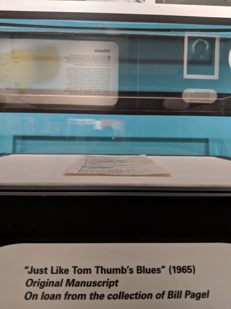 """Just Like Tom Thumb's Blues"" (1965) Original manuscript on loan from the collection of Bill Pagel on display at the American Writers Museum in Chicago in the special exhibit Bob Dylan: Electric"