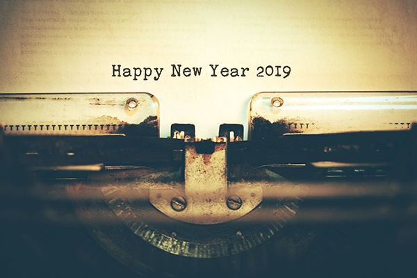 Happy New Year 2019 typed on a vintage typewriter