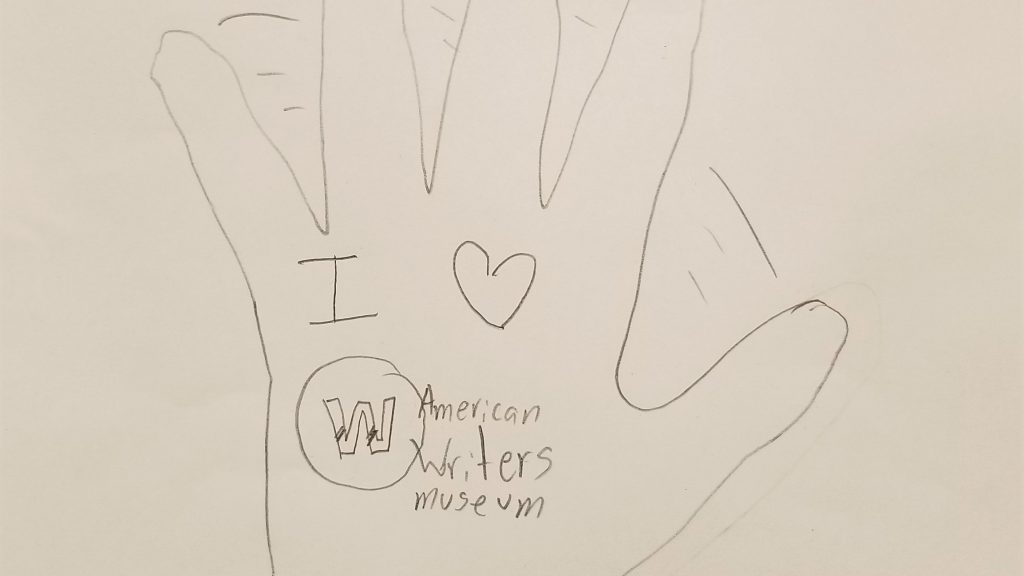 """A drawing of a waving hand with """"I love American Writers Museum"""" written on the palm"""