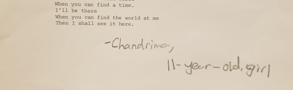 Poem signed by Chandrima, 11-year-old, girl