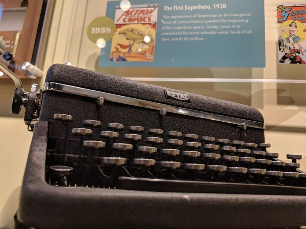Jerry Siegel's typewriter on display at the American Writers Museum