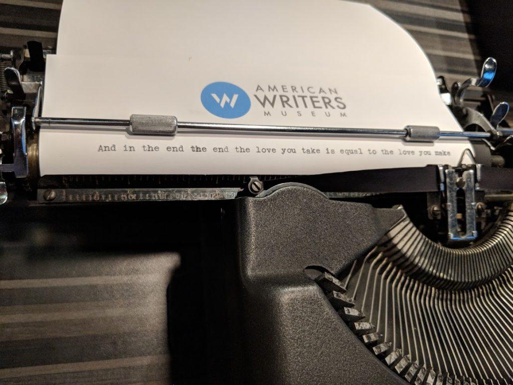 John Lennon's typewriter on display at the American Writers Museum