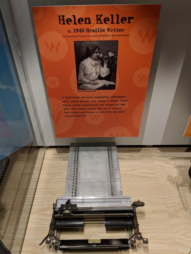 Helen Keller's braille writer on display at the American Writers Museum
