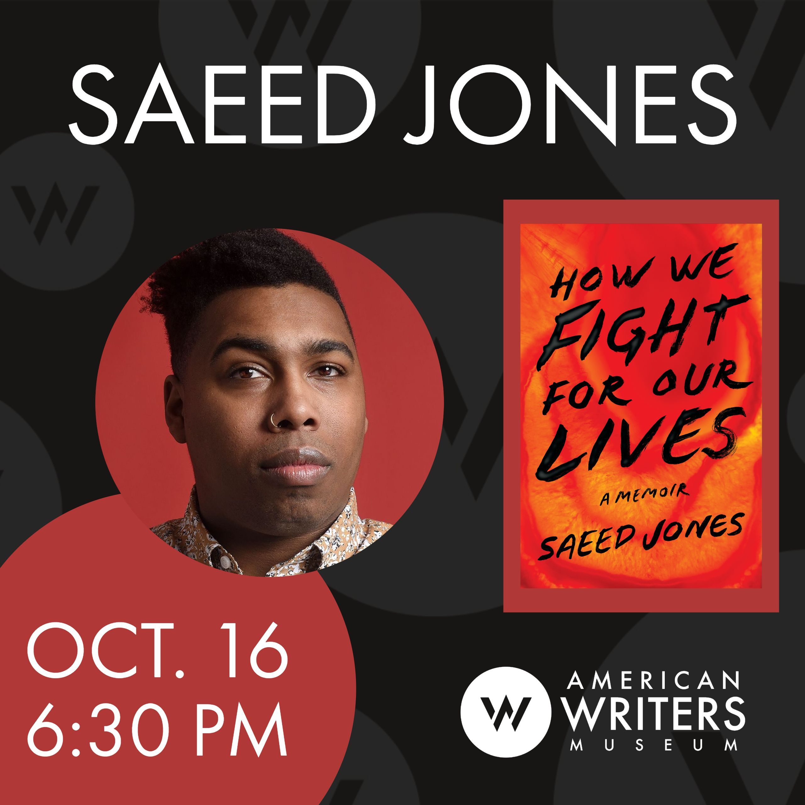 Saeed Jones at the American Writers Museum in Chicago on October 16 at 6:30 pm