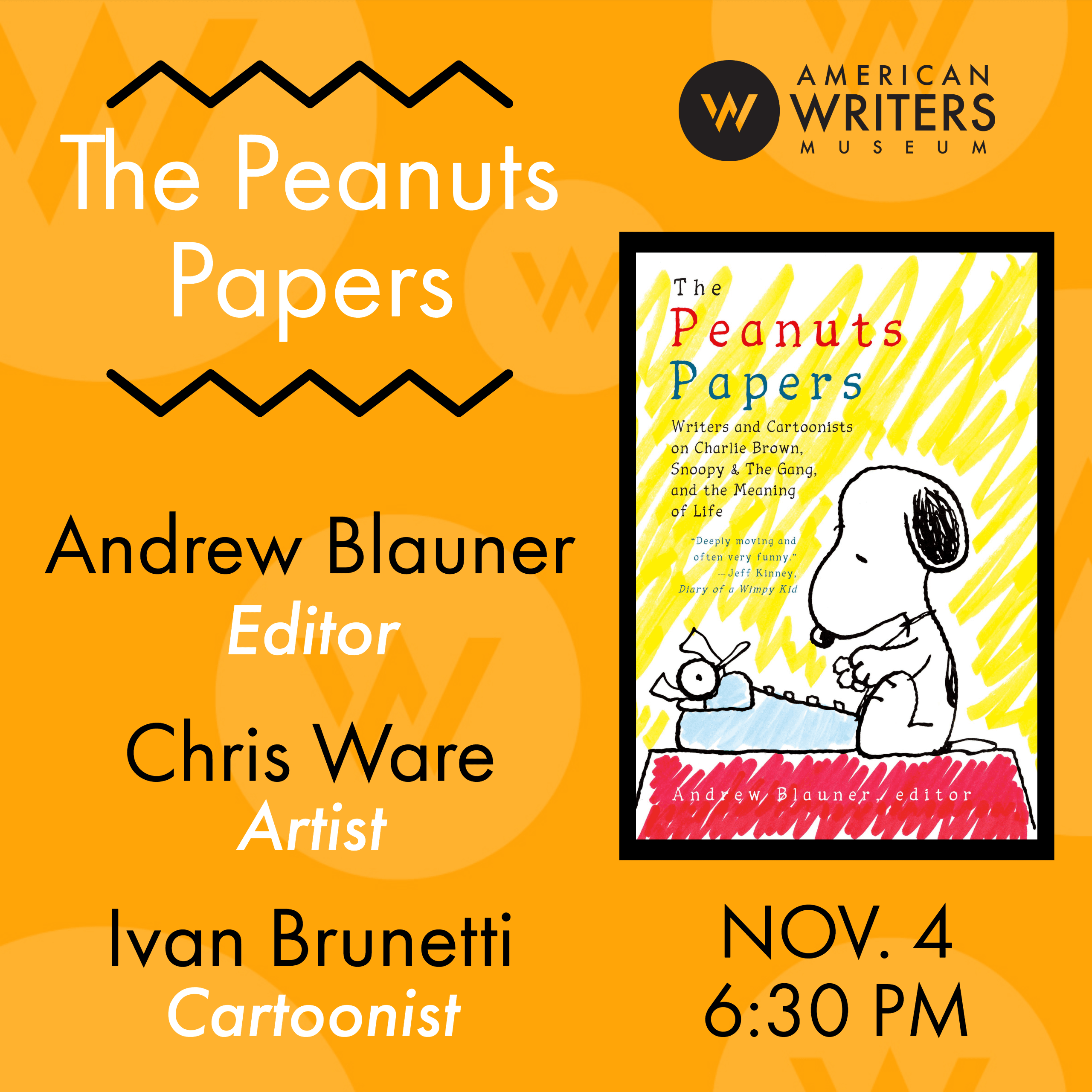 Peanuts Papers at the American Writers Museum on November 4