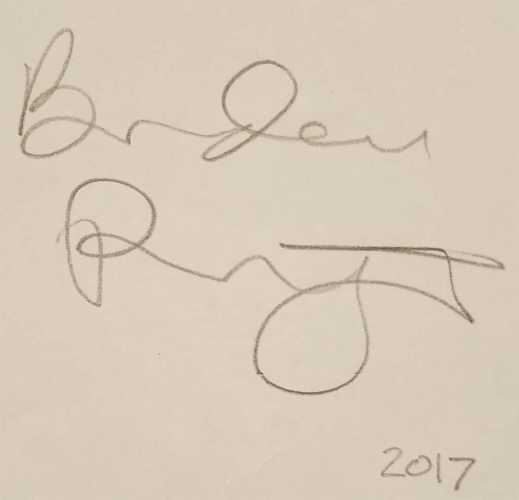 An illegible signature dated 2017 at the end of a story written by a visitor at the Story of the Day exhibit at the American Writers Museum in Chicago, IL