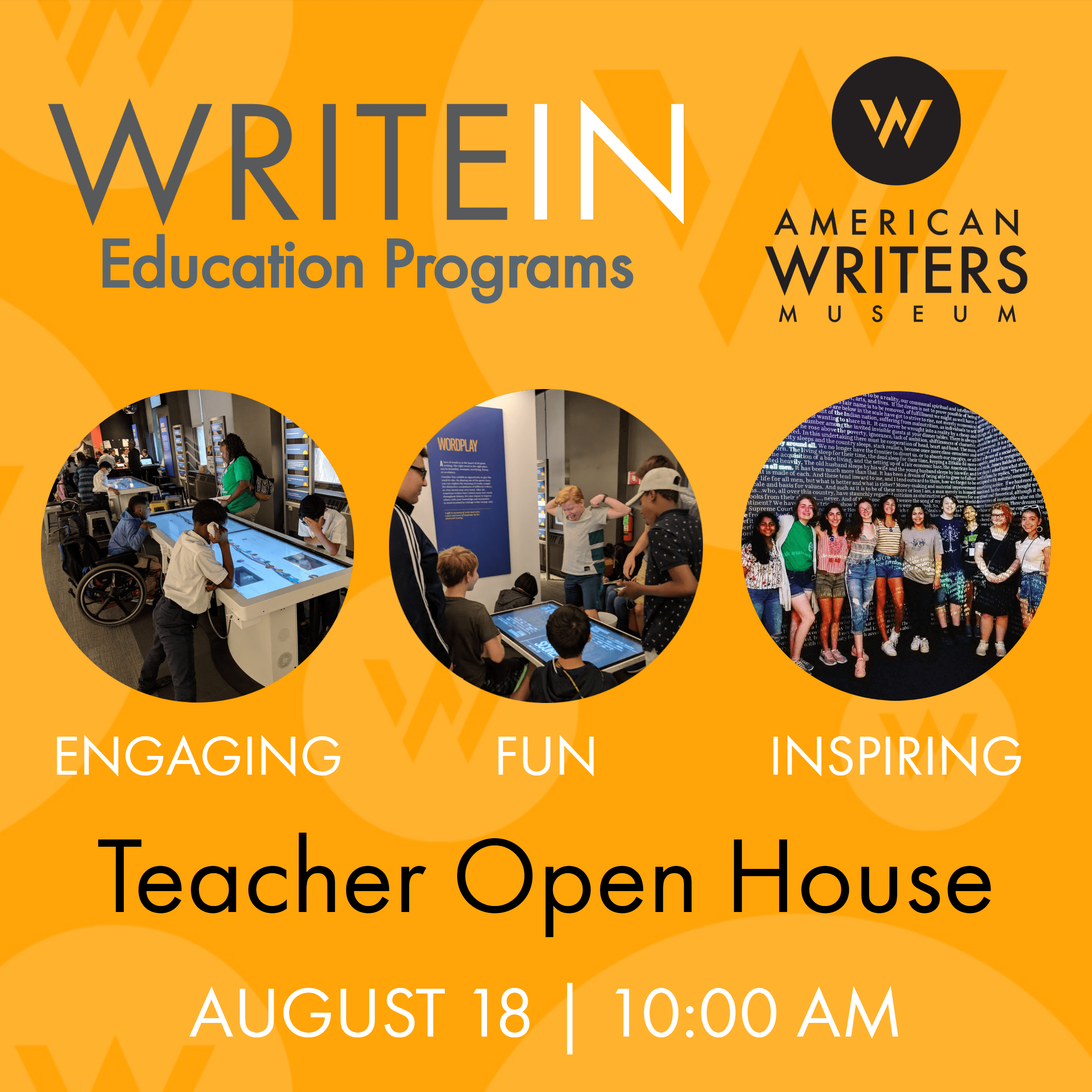 AWM WriteIn Education Programs hosts a Teacher Open House, August 18