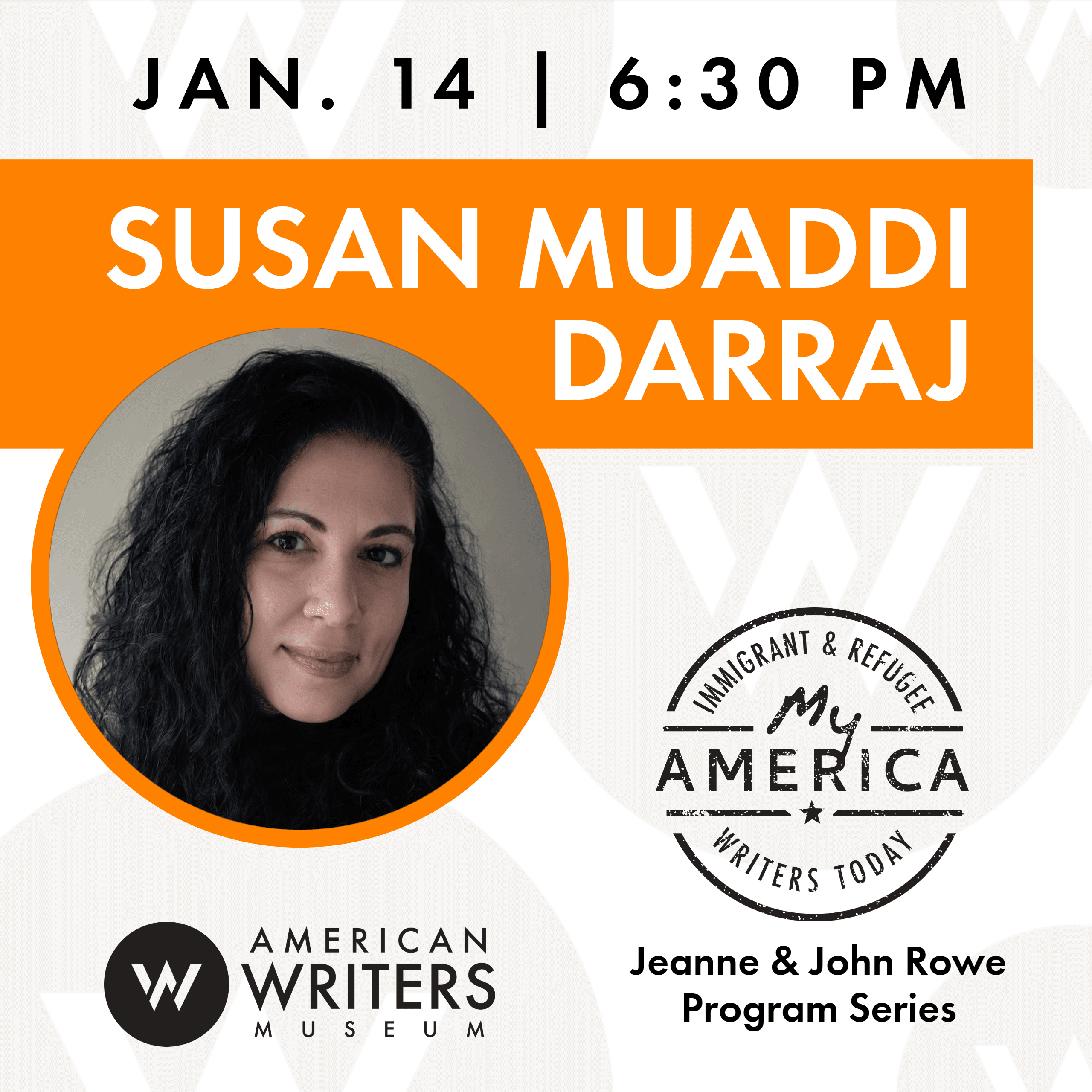 Reading and book signing with Susan Muaddi Darraj at the American Writers Museum on January 14