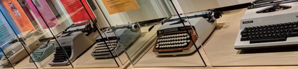 Typewriters on display in the Tools of the Trade exhibit at the American Writers Museum in Chicago