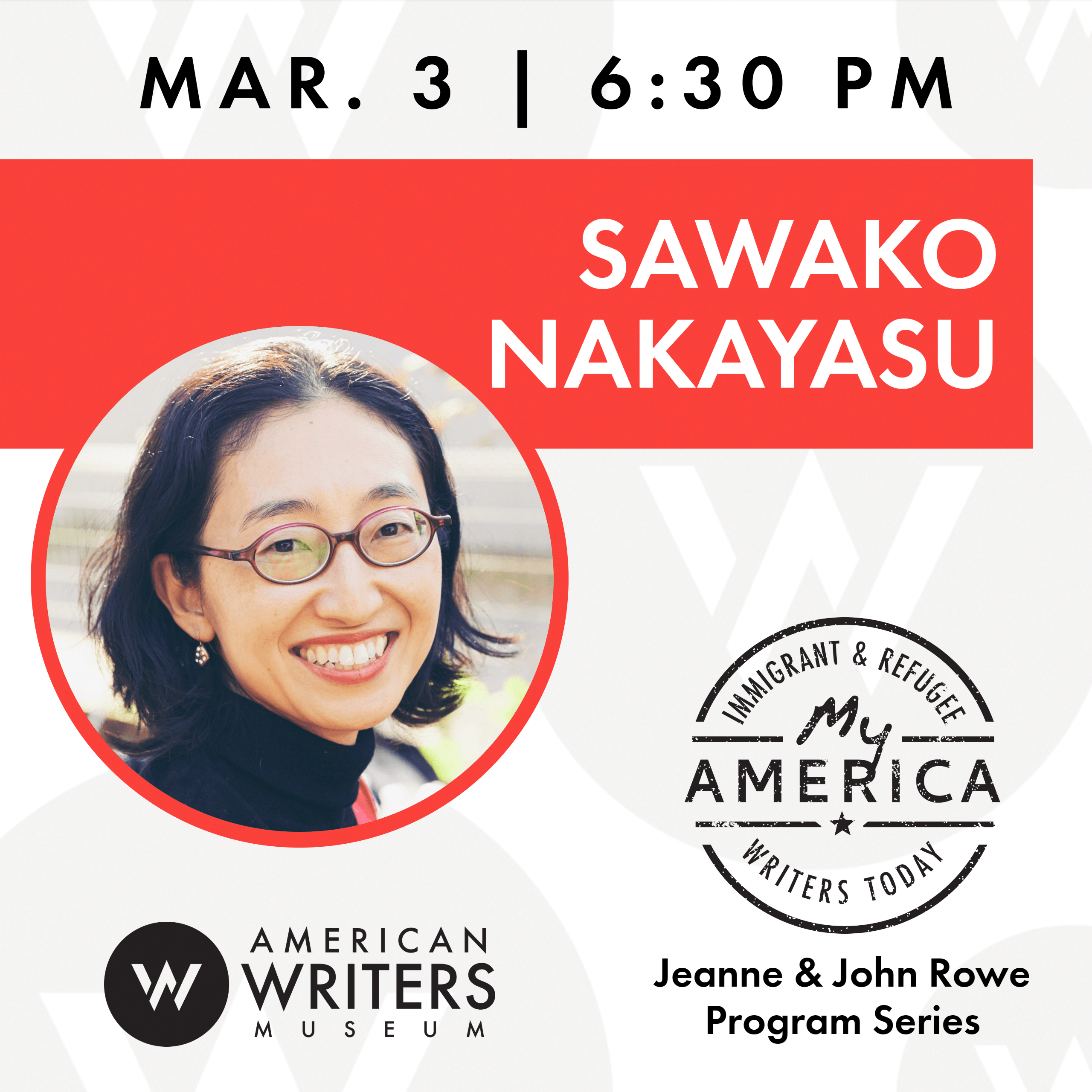 Sawako Nakayasu reading and book signing at the American Writers Museum on March 3