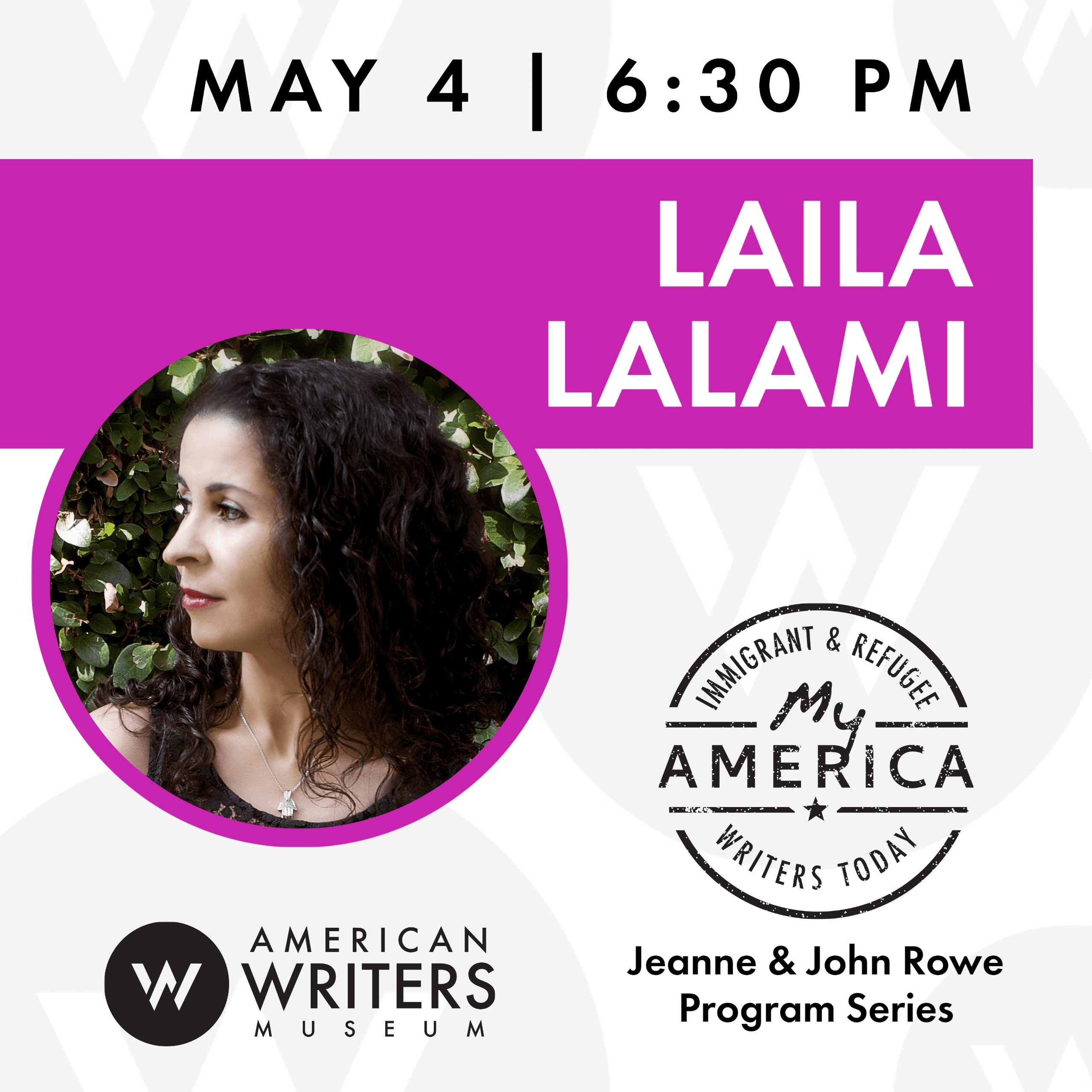 Laila Lalami live webinar with the Aerican Writers Museum on May 4, 2020 at 6:30 pm