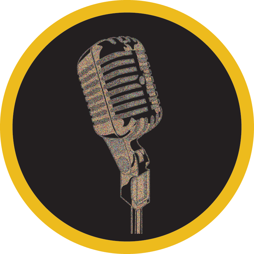 A round icon outlined in yellow, showing a microphone in the center