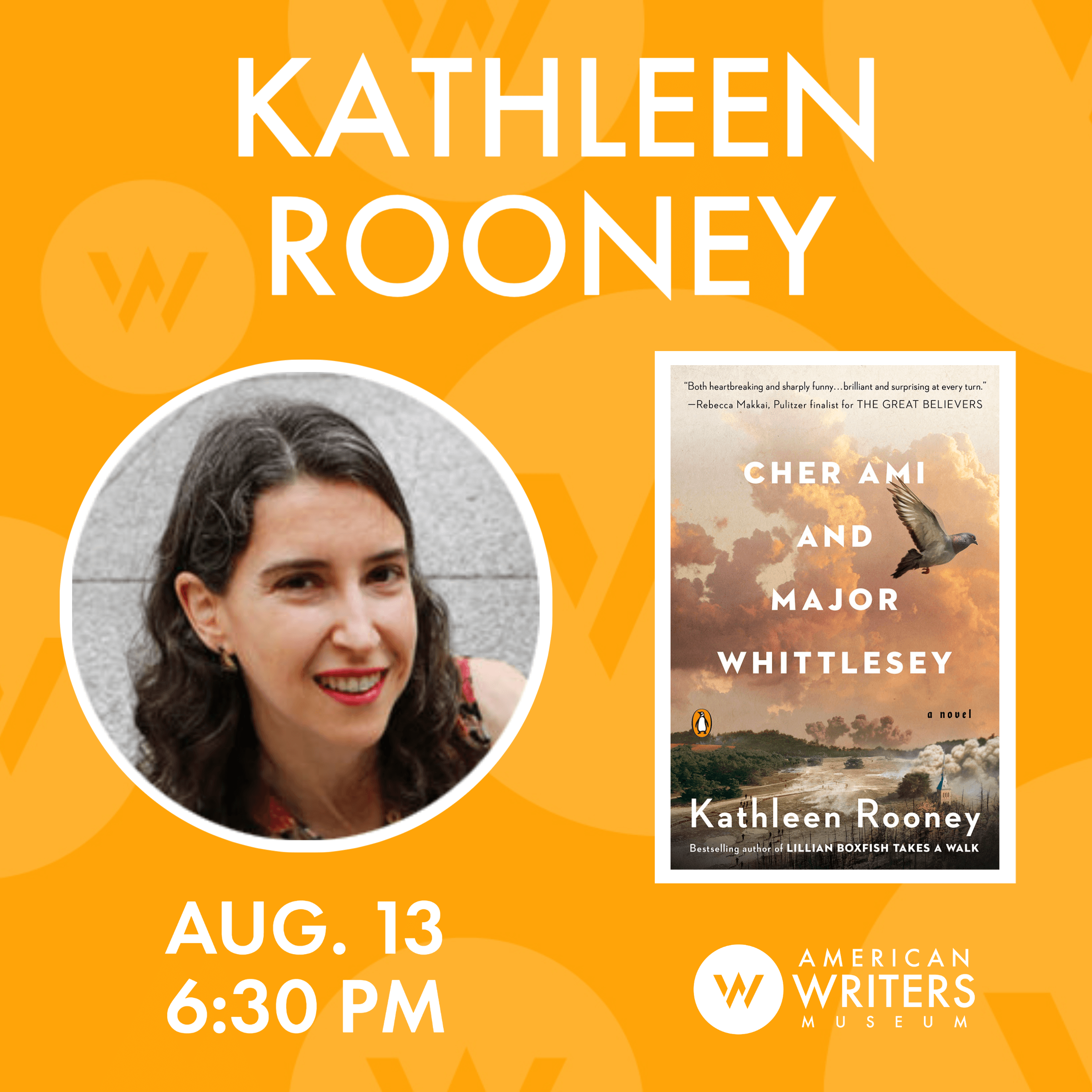 "Kathleen Rooney discusses her new book ""Cher Ami and Major Whittlesey,"" a heart-tugging & gorgeously written novel about a messenger pigeon & Army officer."