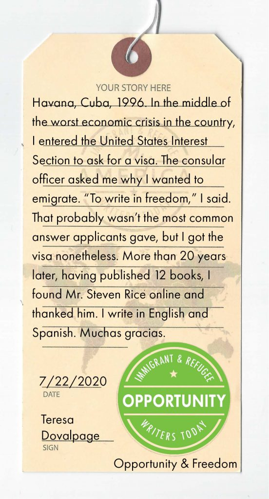 A luggage tag detailing a story written by a visitor to the My America: Immigrant and Refugee Writers Today Exhibit online at My-America.org