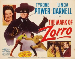 Lobby card for The Mask of Zorro (1940), directed by Rouben Mamoulian